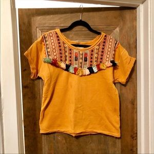Anthropology embroidered and fringed top